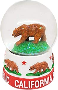Citydreamshop California State Clear Water Ball Grizzly Bear Novelty Home Decor Snow Globe