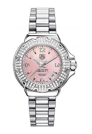 eba82a290b0 Amazon.com: TAG Heuer Women's WAC1216.BA0852 Diamond Pink Dial Formula One  Watch: Tag Heuer: Watches