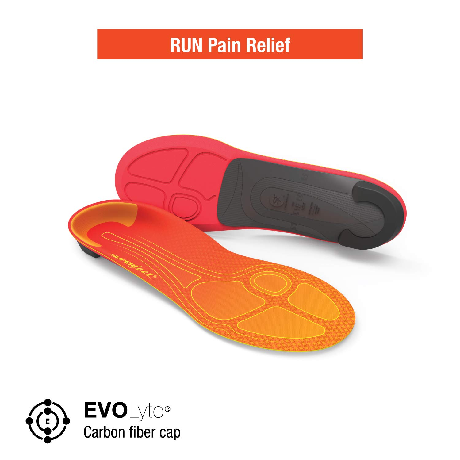 Superfeet Run Pain Relief Insoles, Customizable Heel Stability Professional-Grade Orthotic Insert for Maximum Support, Tangerine, B: 4.5-6 US Womens / 2.5-4 US Juniors by Superfeet (Image #2)