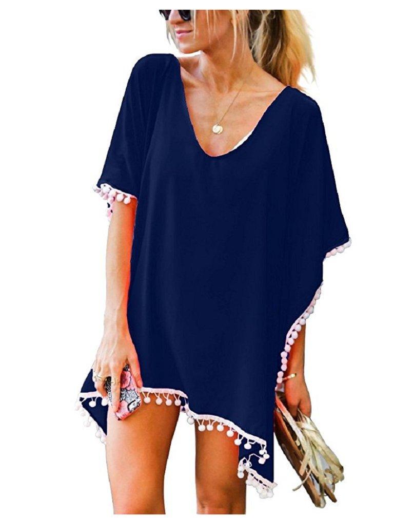 LeaLac Women's Summer Cotton Bathing Suit Cover Up Beach Bikini Swimsuit Swimwear Crochet Dress Gift for Women ZS6695 Navy Blue