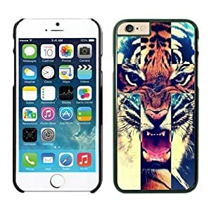 Iphone 6 Case 4.7 Inches, Element Black Hard Phone Cover Case for Apple Iphone 6 Tiger Roar Cross Hipster Quote Animal Design