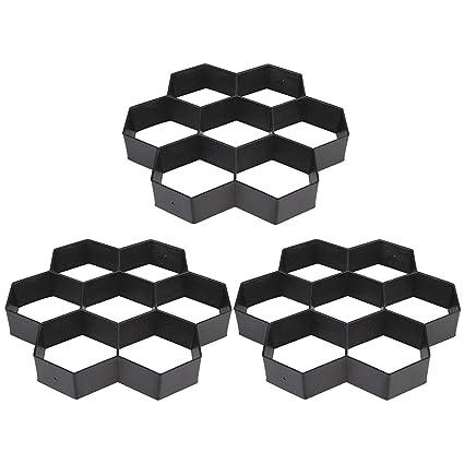 TOPmountain 3 pcs DIY Black Hexagon Driveway Paving Pavement Stone Mold  Concrete Stepping Pathmate Mould Paver