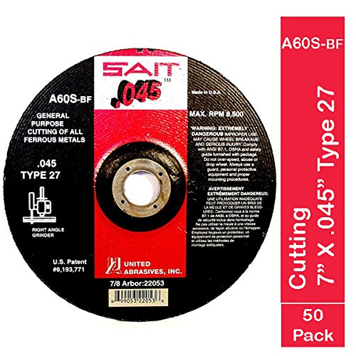 United Abrasives SAIT 22053 Type 27 7-Inch x .045-Inch x 7/8-Inch A60S General Purpose Depressed Center Grinding Wheels, 50-Pack by SAIT