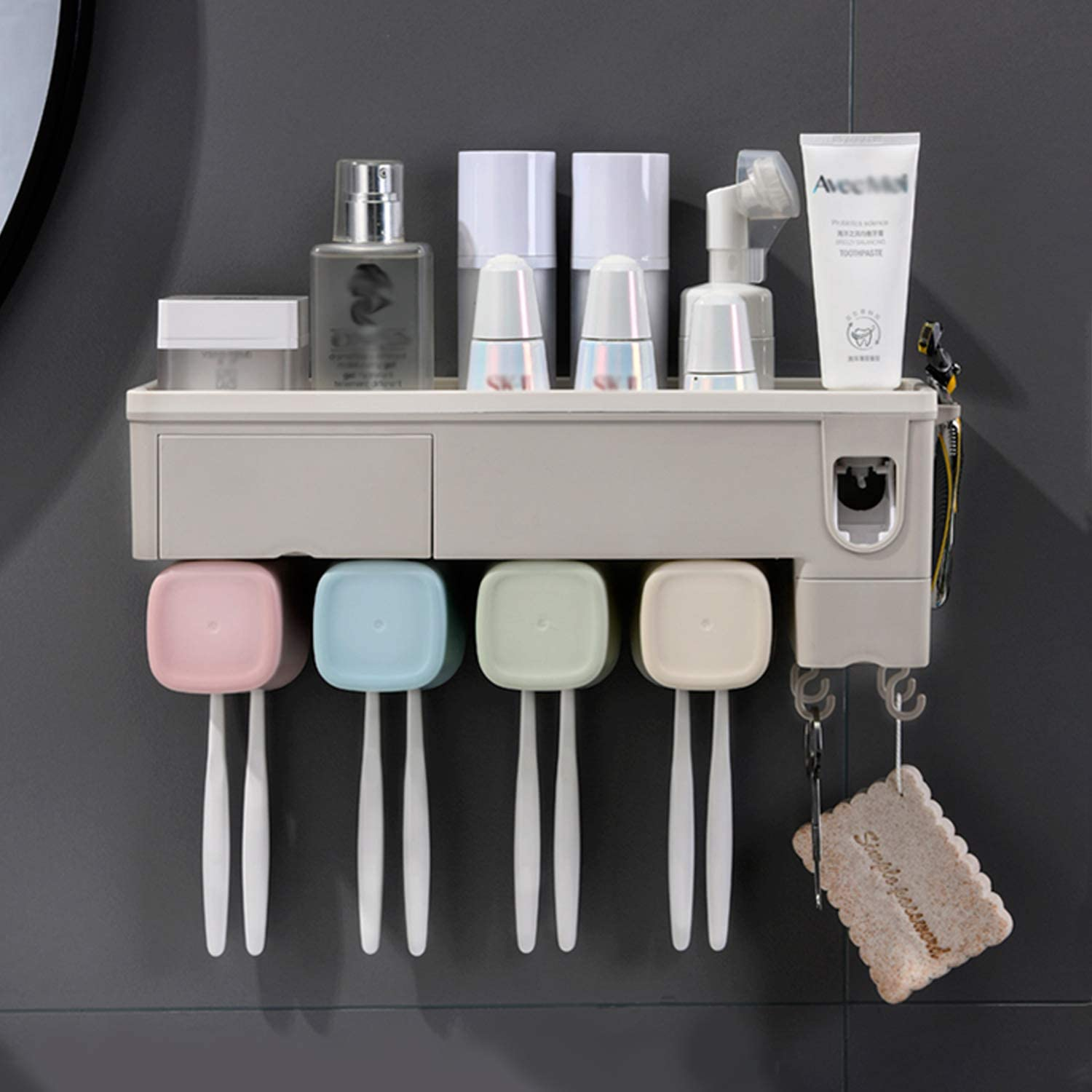 WREWING Single Cup Toothbrush Holder 1 Pack Multifunctional Wall-Mounted Toothbrush Holder Automatic Toothpaste Squeezer Space Saving Bathroom Organizer