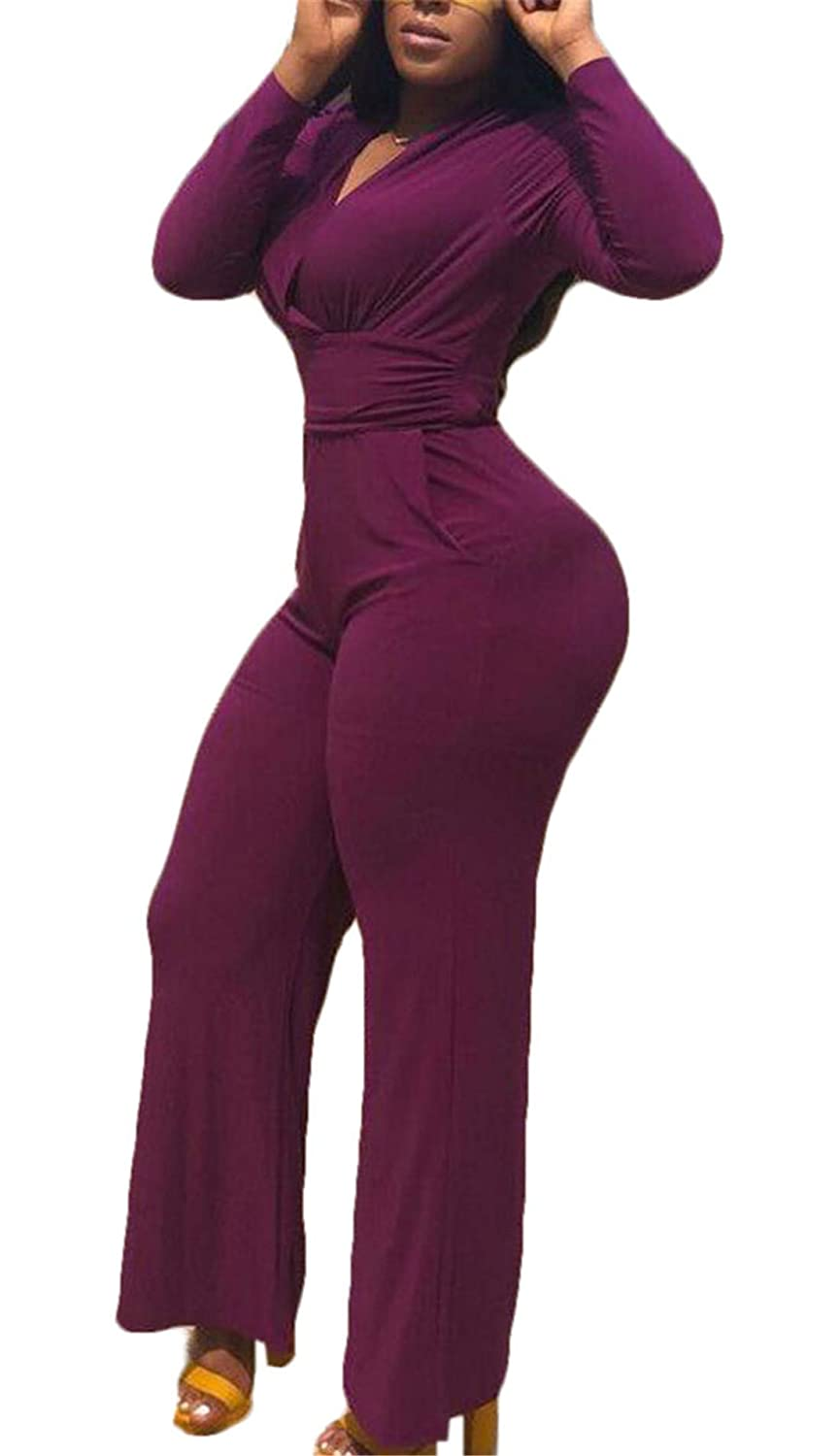 MU2M Women Wide Leg Pants Long Sleeve V Neck Wrap Romper Jumpsuit