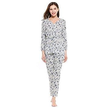 DUKUNKUN Ropa De Dormir Conjunto De Mujeres con Cuello En V Top Y Pantalón Floral Ropa