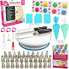 What will you get with this set?  1) 1 x Rotating Cake Stand with Non-slip Silicone Ring Base 2) 24 x Stainless Steel Cake Decorating Tips & Nozzles 3) 1 x Piping Tip Coupler 4) 1 x Silicone Piping Decorating Bag 5) 10 x Disposable Decora...