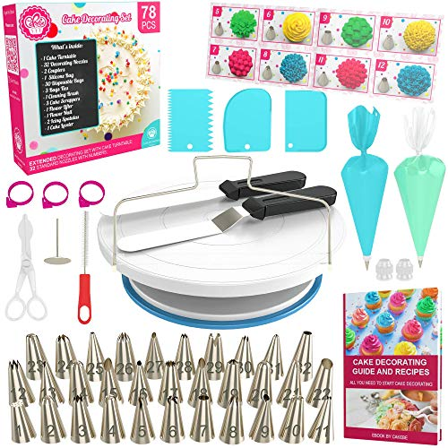 Cake Decorating Kit Cake Turntable - 78 pcs Baking Set Turntable Cake Stand - Baking Tools with Cake Turntable Rotating Cake Stand - Baking Kit with Cake Decorating Tips - Piping Sets with Icing Tips