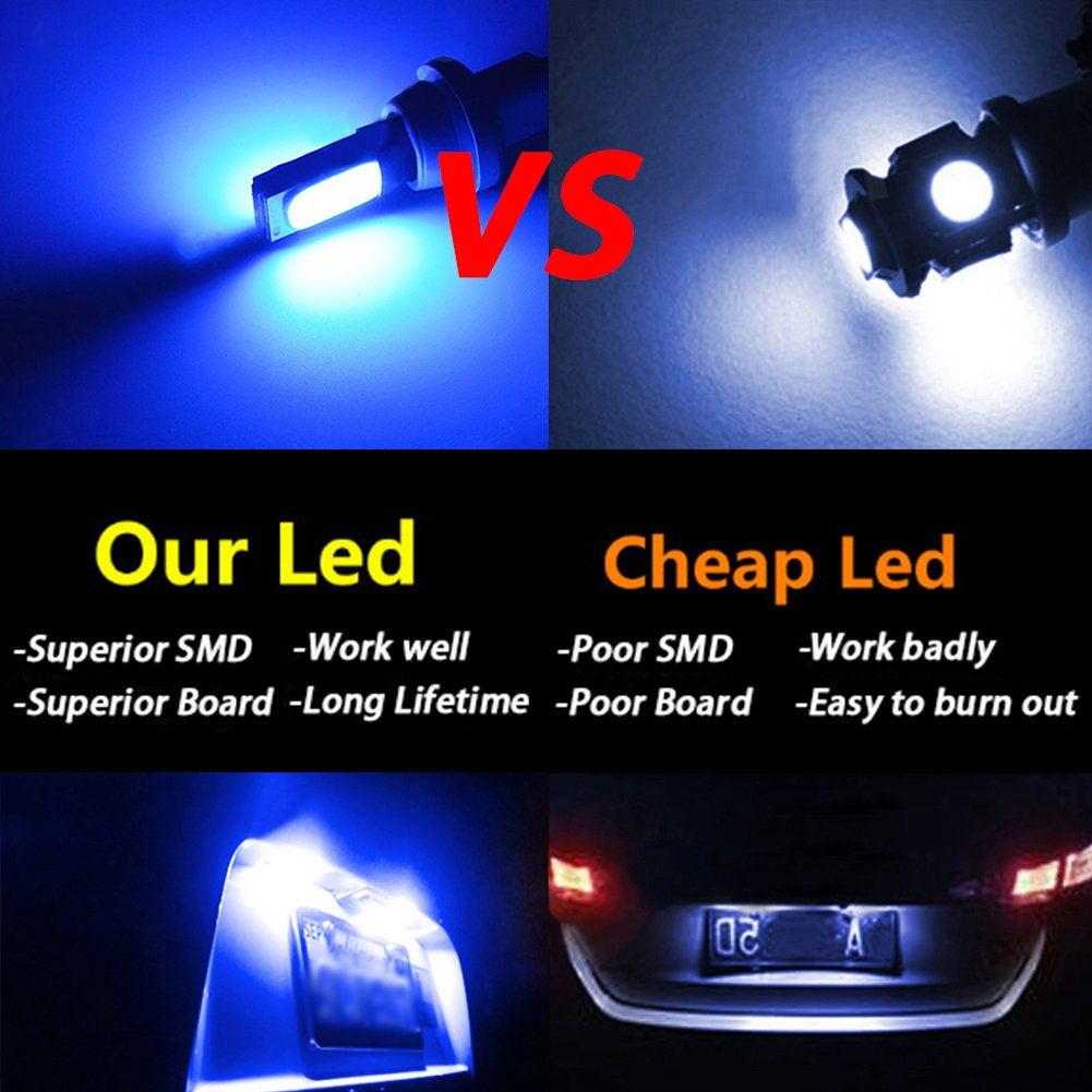 TABEN Extremely Bright Canbus Error Free T10 194 501 W5W SMD COB LED High Power Car Auto Wedge Lights Parking License Plate Bulb Lamp DC 12V Pack of 4