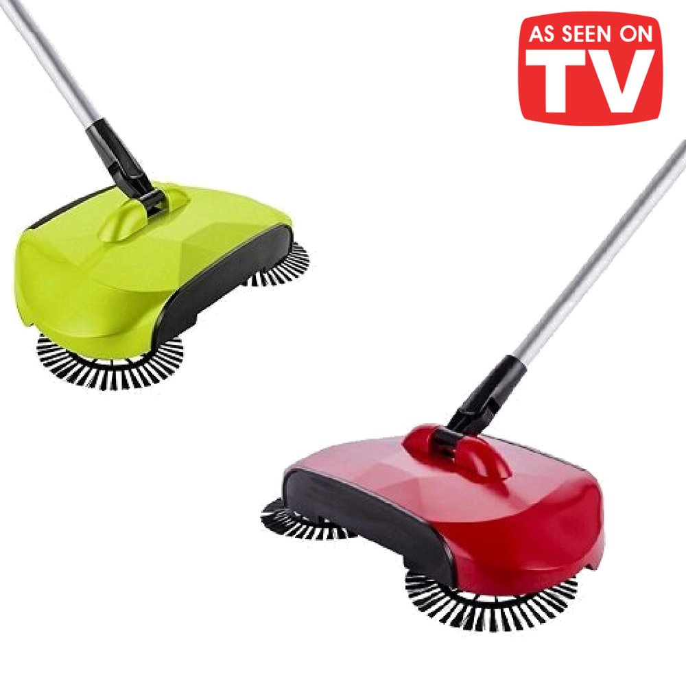 BPG Spin Broom/Sweeper, As Seen on TV.Lightweight Cordless Spinning Broom for Sweeping Hard Surfaces Like Wood, Tiles and Concrete. 3-in-1 Non-Electricity Lazy Push Dust Collector. (Random Color)