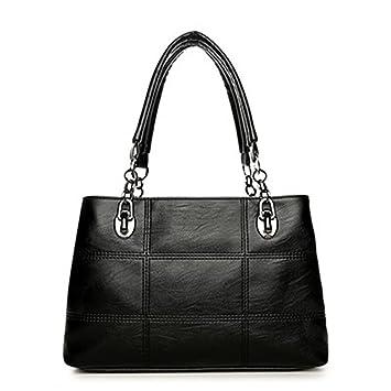 Grandes Bolsas para Mujer bolsos mujeres famosas mujeres Plaid señoras bolsos de cuero Bolsos de hombro negro grande Sac33x22x12cm.: Amazon.es: Equipaje