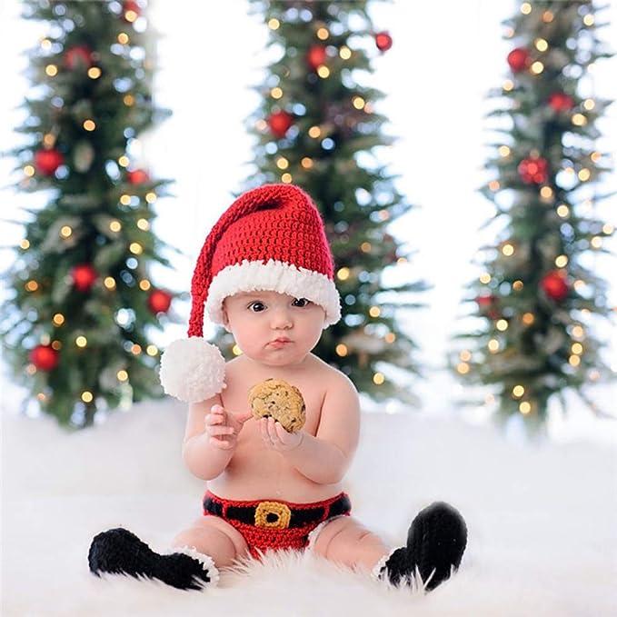 Fliyeong Gorro de traje de navidad Bebé recién nacido Navidad Papá Noel tejido a ganchillo Fotografía Prop Disfraz Trajes