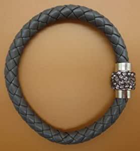 Gray leather bracelet decorated with a gray crystal magnet lock