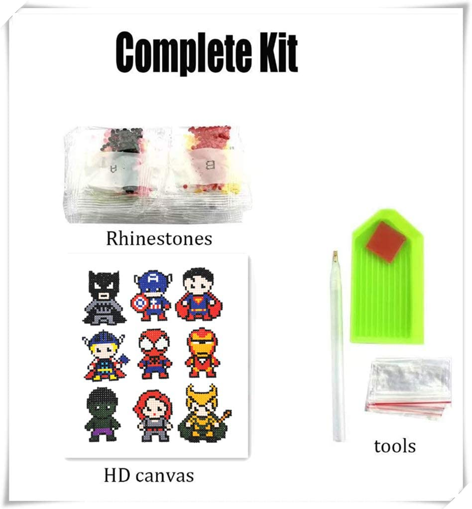 DYMSUP Avengers Diamond Painting Stickers for Kids,9 PSC Cute Painting by Number Kits for Boys Cartoon Digital Mosaic Sticker Art Kit Mosaic Making for Children Girls