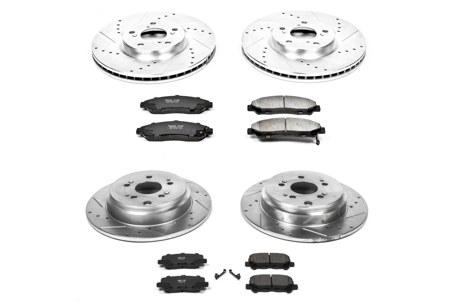 Power Stop K2893 Front and Rear Z23 Evolution Brake Kit with Drilled//Slotted Rotors and Ceramic Brake Pads