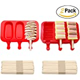 Pack of 2,3 Cavities Silicone Cute Ice Pop Mold with Lid,Ice Cream Maker Mold Cute Popsicle Mold with 20 Wooden Sticks (red style1)