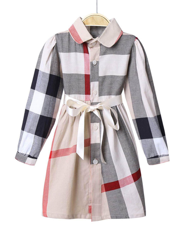 ZANDZ Little Girls Cotton Sleeveless Button Pocket Plaid Casual Summer Dress (5T-6T, A-Beige)