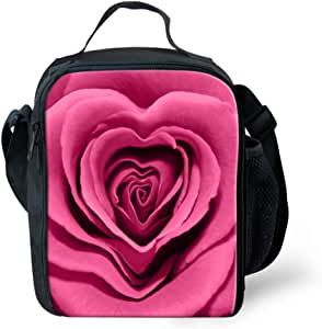 FOR U DESIGNS Portable Rose Flower Insulated Lunch Pouches with Water Bottle Pocket for Hiking Camping