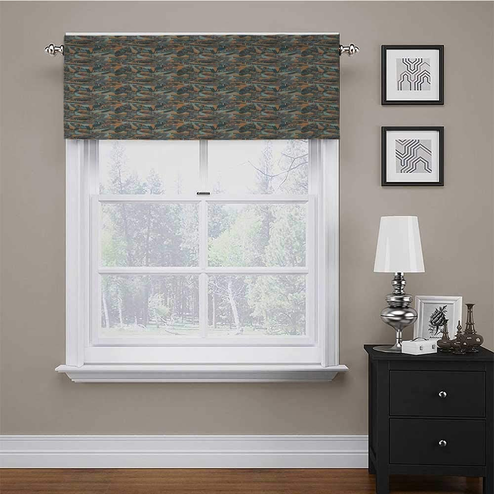 carmaxs Window Valances Abstract Easy Care Tier Curtains Funky Leaves with Paintbrush Marks Earthy Tones Retro Style Garden Fashion Graphic 56