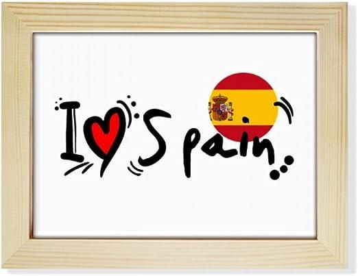 DIYthinker Amo España Palabra de la Bandera del Amor del corazón Ilustración de Escritorio de Madera Marco de la Foto del Arte Pintura 6X8 Pulgadas: Amazon.es: Hogar