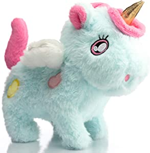 HollyHOME Animated Unicorn Stuffed Animal Plush Unicorn Pony Walking Running Galloping Plush Interactive Toy Gift for Toddlers Kids 8 Inch Blue