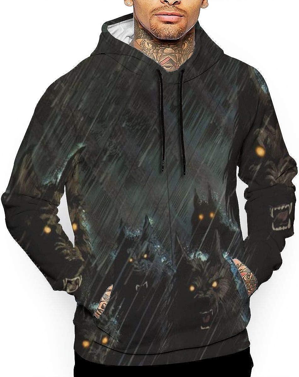 Dark Storm Werewolf Wolf Mens Pullover Hoodie Sweatshirt Tops