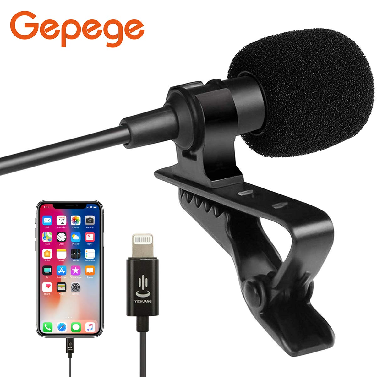 Gepege Microphone Professional for iPhone Grade Lavalier Lapel Omnidirectional Phone Audio Video Recording Lavalier Condenser Microphone (iOS 6.0m) by Gepege