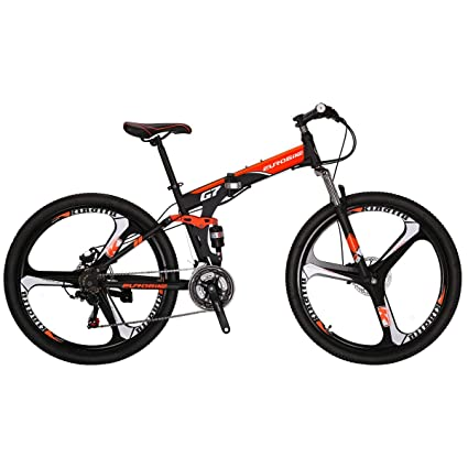 EUROBIKE G7 Mountain Bike 21 Speed 27.5 Inches K Wheel Dual Suspension Folding Bike Dual Disc