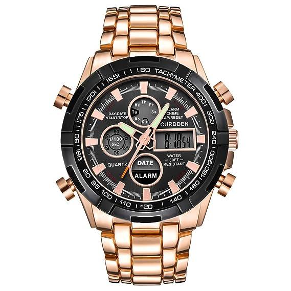DAYLIN Relojes Deportivos Hombre LED Reloj Pulsera Analógico de Cuarzo Impermeable Reloj Negro Hombre Digital Milital Acero Inoxidable Relojes para Hombre ...