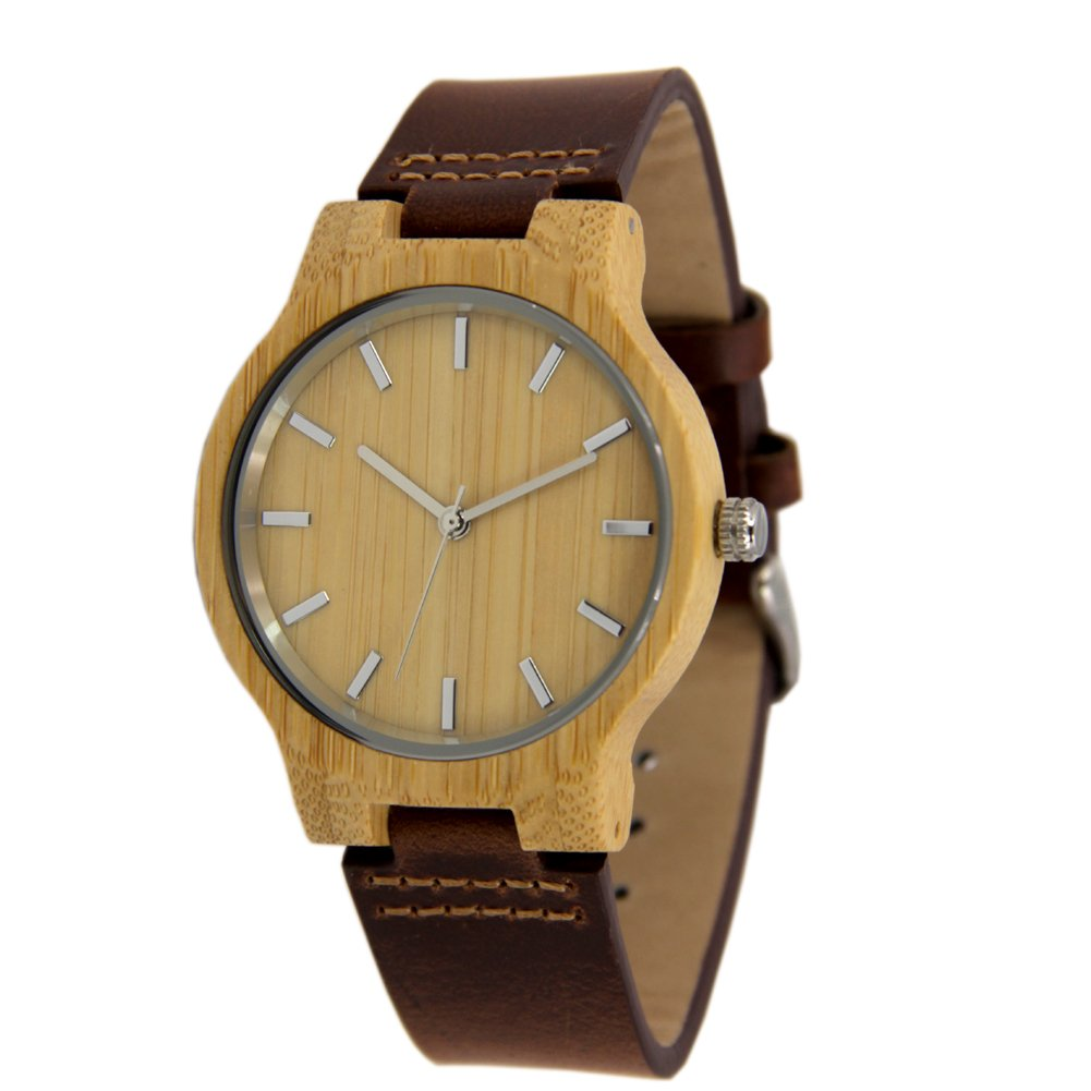 Minimalist Natural Bamboo Watches for Men with Genuine Leather Strap