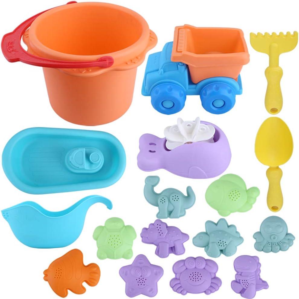 Wrei 13Pcs Cubo de Playa con Accesorios, Conjunto de Juguetes para la Playa Juguetes de Playa para Niños, Juguetes de Playa y Arena para Niños con Bucket Castle Moldes Material Plastico Multicolor
