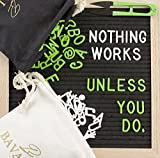 Felt Letter Board 10x10 Inches | Message Board with 712 White & Green Plastic Letters | Letter Board, Oak Frame, Two Canvas bags, Wall Mounting, eBook, and Bonus Scissors | Durable BAVALON Felt Board