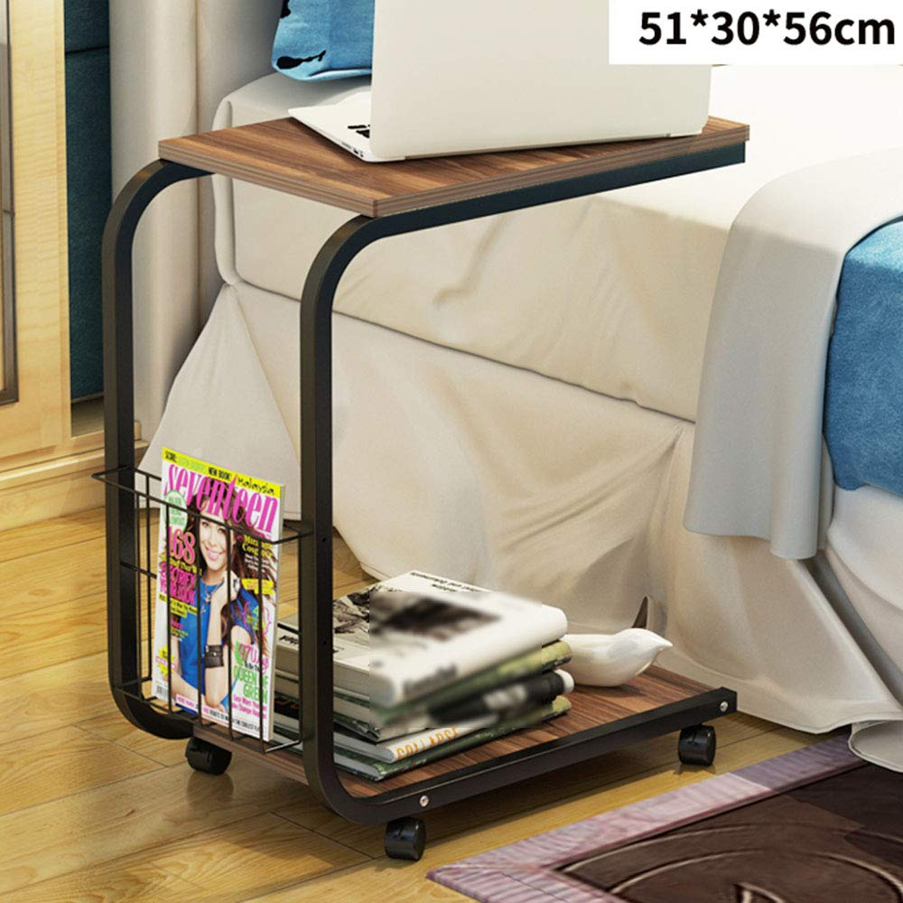 LJHA bianzhuo Side Table, Movable Solid Wood Mini Side Table/Practical Sofa Side Sideboard/Convenience Bedroom Bedside Computer Desk/Small Tea Table Bedside Tables (Color : F) by GYH End Table