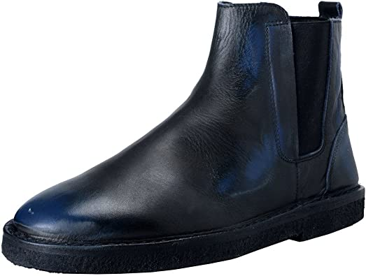 Faded Blue Leather Ankle Boots Shoes