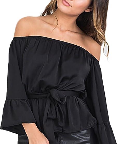 Camisas Chiffon Mujer Verano Elegantes Moda Camisas Color Sólido Sencillos Especial Sin Tirantes Trompeta Manga con Cinturón Slim Fit Tops Estilo: ...