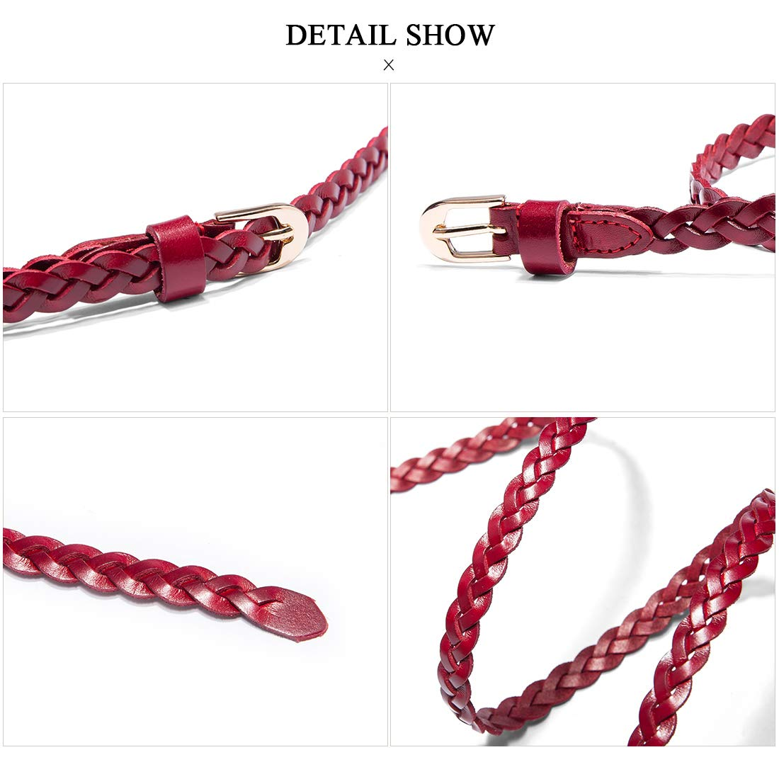 Women Cow Leather Stylish Adjustable Casual Skinny Belts Woven Stretch Braided Red Belts by OMENTAR (Image #5)