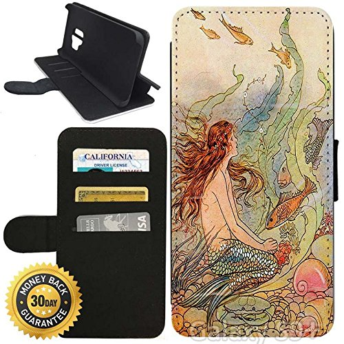 Vintage Purses Ebay - Flip Wallet Case for Galaxy S9 Plus (Mermaid Vintage Art) with Adjustable Stand and 3 Card Holders | Shock Protection | Lightweight | Includes Stylus Pen by Innosub