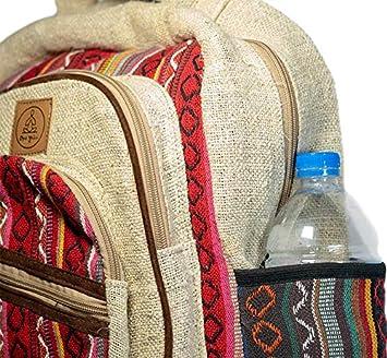 Amazon.com | Natural Large Hemp Backpack - - Handmade Eco-Friendly Multipocket Laptop Bag Anti Theft Travel Bag - Multi Color ...