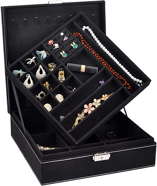 Jewellery Organiser Necklace Earrings Rings Bracelets Removable Compartments