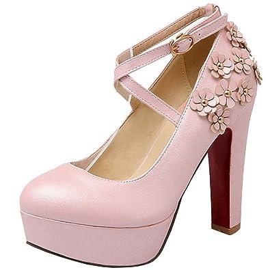 Atyche Damen Plateau High Heels Pumps mit Blumen und Riemchen Blockabsatz Elegante Braut Hochzeit Schuhe