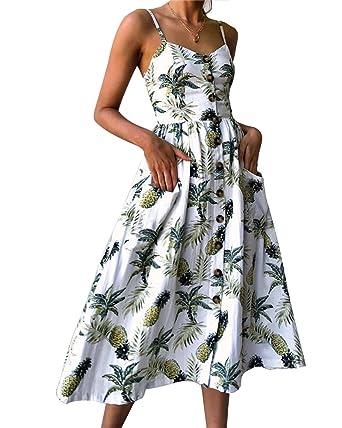 1208660ea4e Aofur Ladies Party Dresses Summer Floral Bohemian Spaghetti Strap Button  Down Swing Midi Dress Size 8