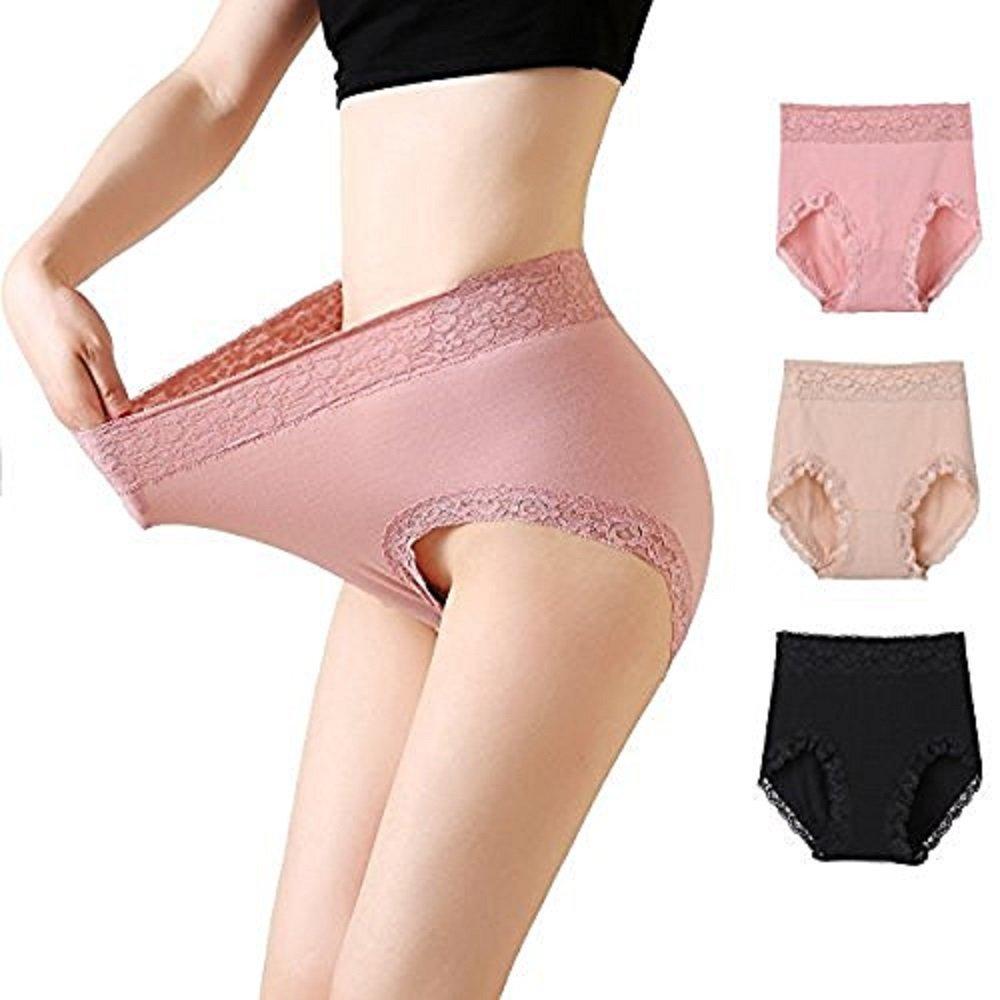 MSJESSIE Women Lace Panties Sexy Lingerie Cotton Briefs Plus Size Waist Underwear Pack Of 3 (US L/3L)