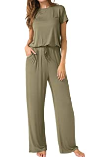 1bcfa1316 ThusFar Women's Short Sleeve Casual Jumpsuits - Loose Wide Legs with Pockets