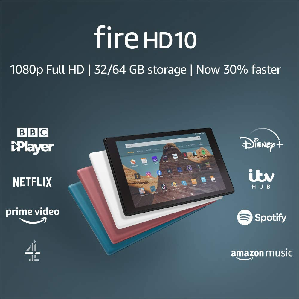 Fire HD 10 Tablet | 10.1″ 1080p Full HD display, 32 GB, Black – with Ads 40% OFF £89.99 @ Amazon