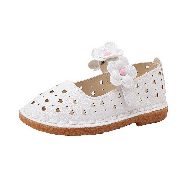 AHATECH Chaussures Fille Princesse Ballerines Sandales Ete Velcro Plates Cérémonie Mariage à Fleurs - Blanches