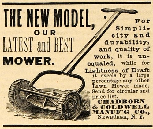 1890-ad-chadborn-coldwell-push-lawn-care-mower-newburgh-new-york-agricultural-original-print-ad