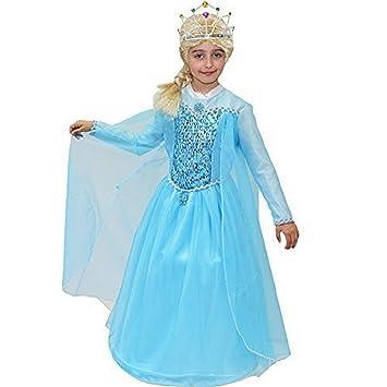 pequeños monelli Traje Elsa Frozen niña 5 6 años Vestido de ...