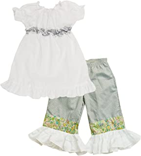 product image for Cheeky Banana Little Girls Peasant Top & Ruffle Capris White & Grey Dot