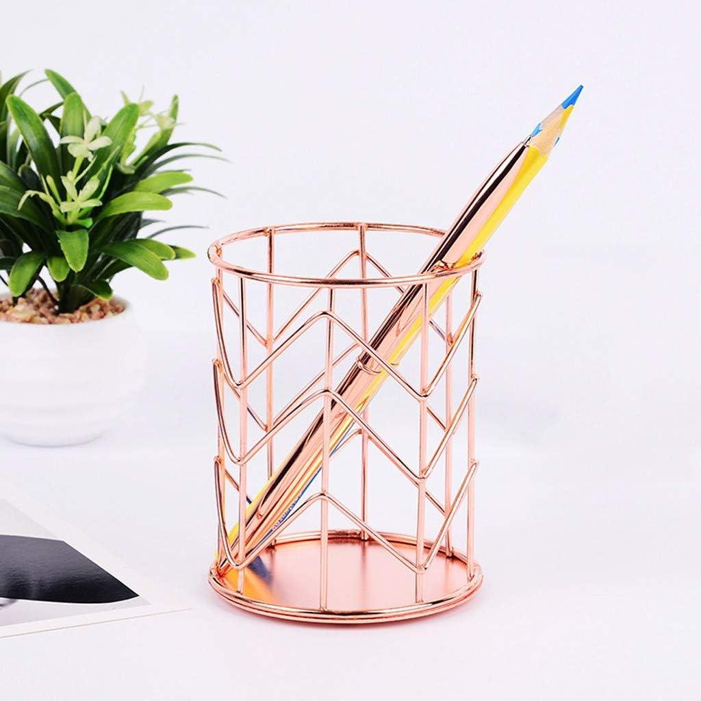 Or Ibeans Pen Crayon Container Organiseur De Bureau Porte-Crayon En M/éTalorganisateur De Papeterie Rangement De Pinceau De Maquillage