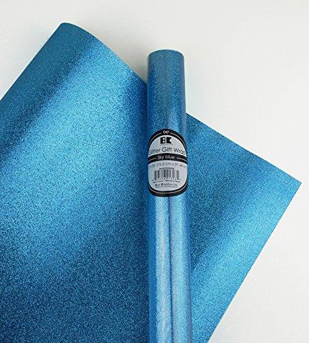 Glitter Gift Wrap- 2 Rolls- Sky Blue by Best Creation